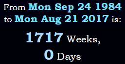 Exactly 1717 weeks