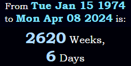 2620 weeks, 6 days
