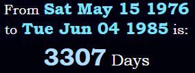 From May 15th, 1976 to June 4th, 1985 is 3,307 days
