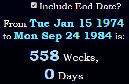 A span of exactly 558 weeks