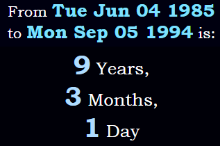9 years, 3 months, 1 day